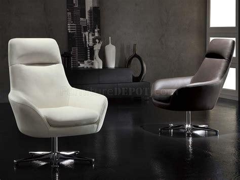 white italian leather modern swivel chair
