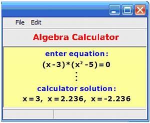 Algebra Calculator       Equation Solver
