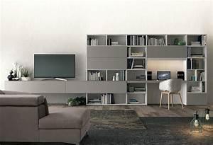 Meuble TV Avec Bureau Bibliothque L10 COLOMBINI CASA