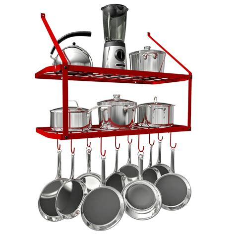 hanging pots pans pot rack wall shelf mounted walmart tier vdomus