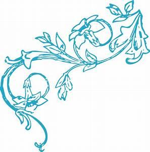 Blue Floral Vine Corner Clip Art at Clker.com - vector ...