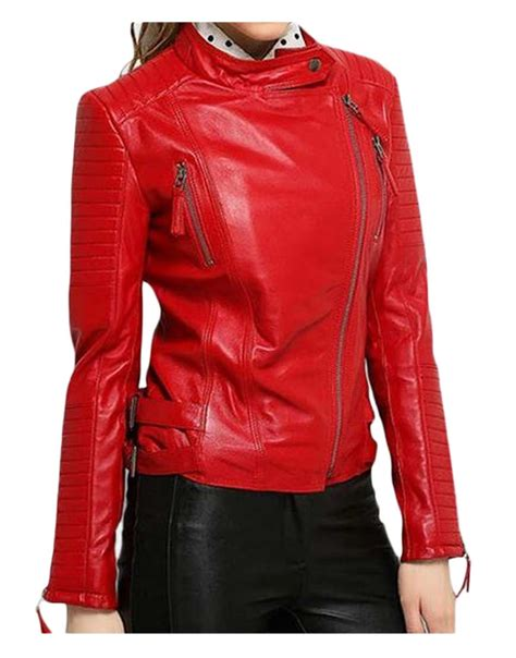 red leather motorcycle jacket asymmetrical zipper elegant womens red leather motorcycle