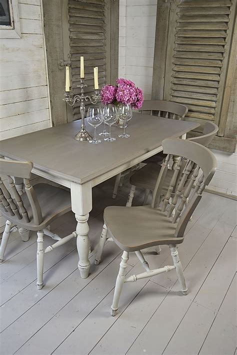 chic grey dining room grey white shabby chic dining table with 4 chairs Shabby