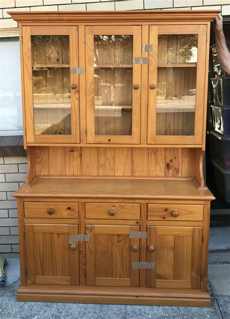 pine wood wooden hutch buffet kitchen dresser  drawers