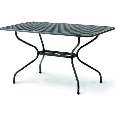 kettler wrought iron mesh top table 57 x 35 inch