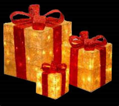 lighted outdoor presents
