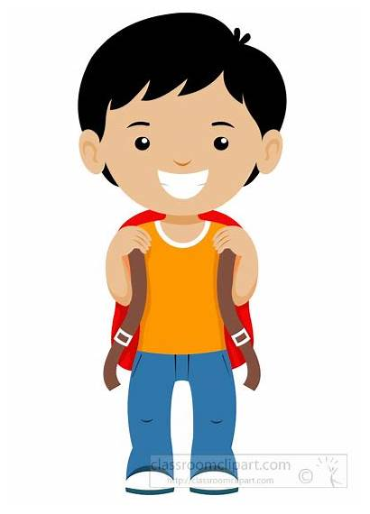 Student Clipart Boy Standing Smiling Bagpack Stand