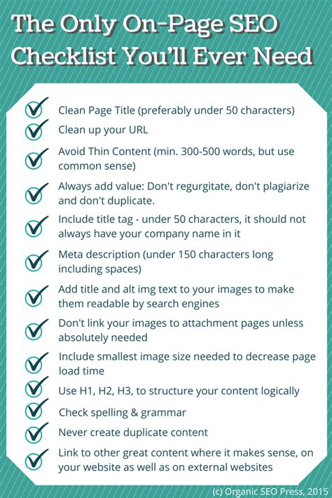 The Only Page Seo Checklist You Ever Need