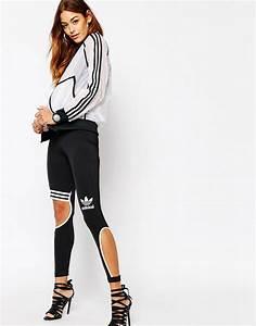 Adidas Originals Rita Ora 3 Stripe Cut Out Trapeze Leggings Size UK 18 New Celeb | eBay