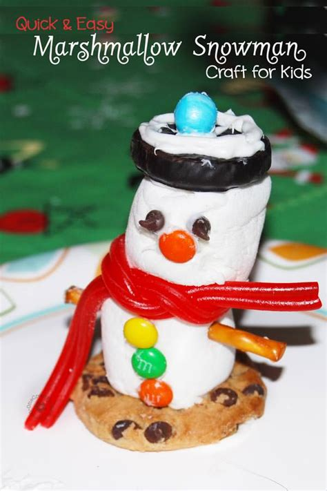 quick  easy marshmallow snowman craft  kids