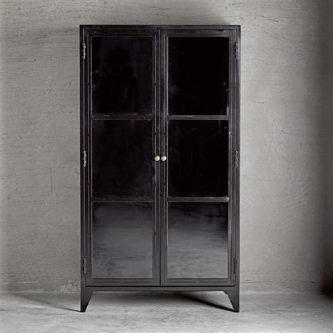 metal cabinet with glass doors metal cabinet w shelves and glass doors black products