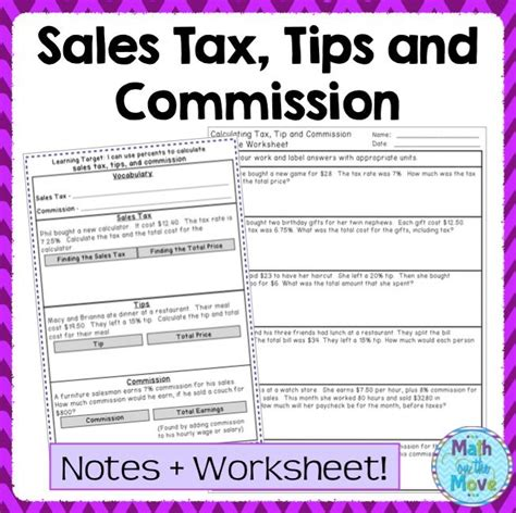 percents sales tax tips and commission notes task