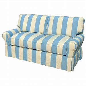 CR Laine Blue Striped Sofa