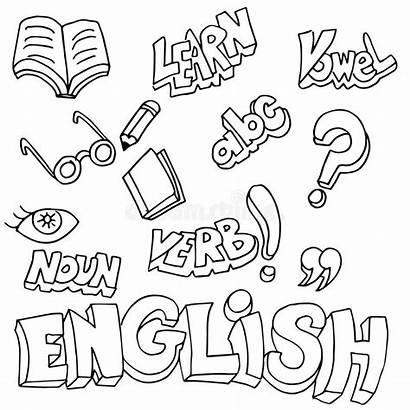 English Learning Symbols Items Clip Vector Language