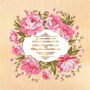 pink flower frame wedding invitation cards free vector in With wedding invitation framed with flowers