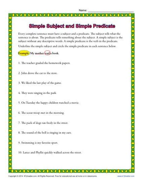 Simple Subject And Simple Predicate  3rd Grade Worksheets