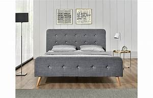 Tete De Lit Tissu : lit tissu lin gris style scandinave avec t te de lit natt ~ Premium-room.com Idées de Décoration