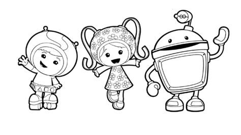 Nick Jr Kleurplaten by Team Umizoomi Milli Geo And Bot Colouring Page