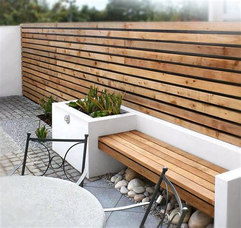 modern outdoor space  wood slat wall bench outdoor