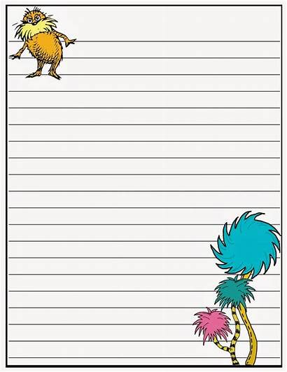 Seuss Paper Dr Writing Printable Papers Children