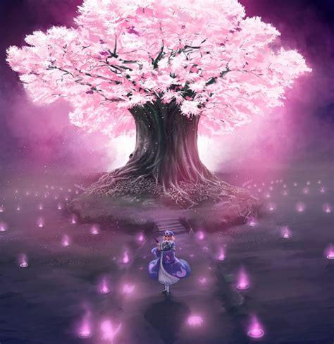 Anime Tree Wallpaper - touhou cherry blossoms trees anime saigyouji
