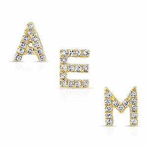 anne sisteron 14kt yellow gold diamond alphabet initial With diamond letter stud earrings