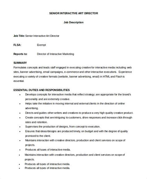 sample art director job description  examples   word