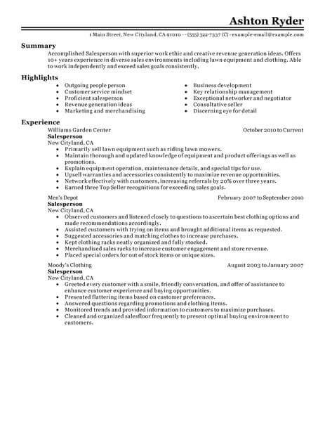 Salesperson Resume Sle by Best Retail Salesperson Resume Exle From Professional