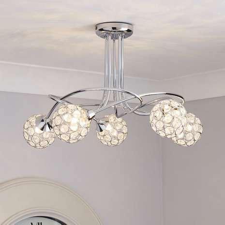 sphere 5 light chrome ceiling fitting dunelm