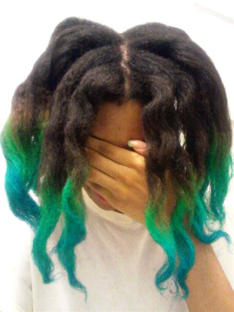 Green And Blue Hair Tips Ombre Afro Ma Fro Pinterest