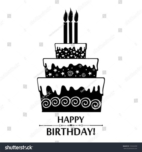 birthday card black white cake isolated stock vector