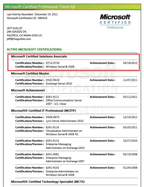 Mcse Certification Resume april 2012