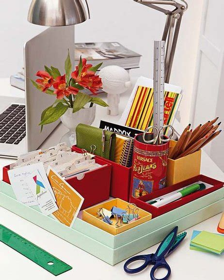 office desk storage ideas utilizing miscellaneous boxes and canisters can create a