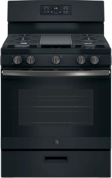 ge   standing gas range black slate jgbsfekds spencers tv appliances