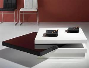 Table Carree Blanc Laqué : table basse carr e pivotante laqu blanc et noir matiss ~ Teatrodelosmanantiales.com Idées de Décoration