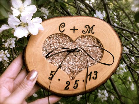 wooden wedding ring bearer pillow customized rustic country