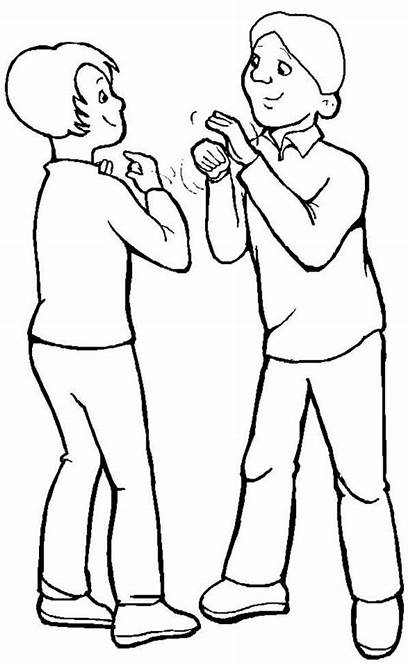 Coloring Talking Pages Talk Disability Language Sign