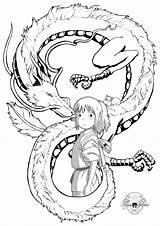 Chihiro Spirited Coloring Away Tattoo Anime Ghibli Miyazaki Tattoos Haku Dibujos Deviantart Viaje Tatuagem Latorre Maria Viagem Dibujo Totoro Mononoke sketch template