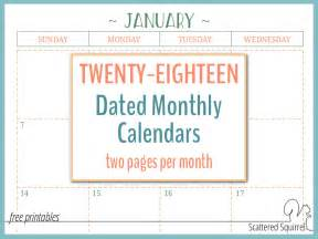 Printable 2 Page Monthly Calendar 2018
