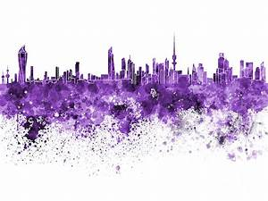 Kuwait City Skyline In Watercolor On White Background