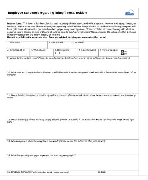 employee statement form 50 sle statement forms sle templates