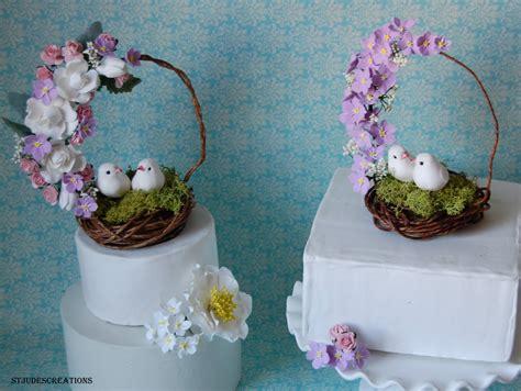 cake topper birds nest handmade paper flowers  maria noble