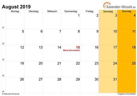august kalender mit feiertagen