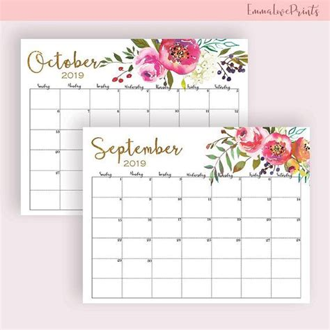 wall calendar calendar printable floral watercolor large wall