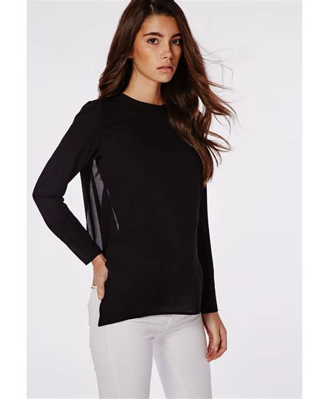 open blouses missguided open back blouse black in black lyst