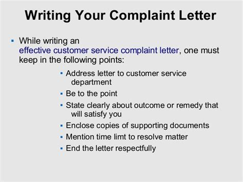 tips to write customer service complaint letter