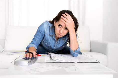 young woman worried  home  stress accounting desperate