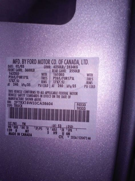 buick paint code locations touch up paint