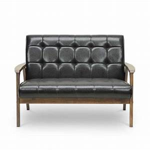 Mid century 3 piece leather sofa set in brown togo 3pc for Mid century 3 piece sectional sofa