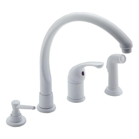 shop delta waterfall white high arc kitchen faucet